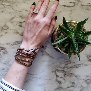 Chan Luu copper brown 5 wrap bracelet